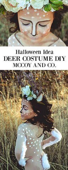 Deer Costume Tutorial | DIY Halloween Costumes for Girls | Deer Makeup | Homemade Costume