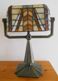 TIFFINY STYLE BRASS & STAINED GLASS TABLE LAMP FOR 3 TEA LIGHTS ~ SOLD ON MY EBAY SITE LUBBYDOT1