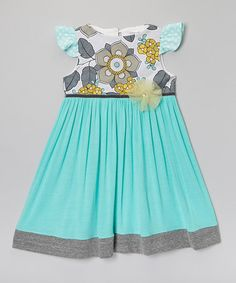 Loving this Aqua Seaside Angel-Sleeve Dress - Toddler & Girls on #zulily! #zulilyfinds