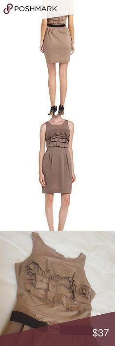 Chic BCBGMAXAZRIA Mocha Tiered Belted Dress BCBGMAXAZRIAWomen's Mocha Brown Tiered Belted Dress BCBGMaxAzria Dresses