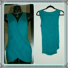 Classy and beautiful This gorgeous dark teal tank comes from Color Me Red. It drapes beautifully across the bodice but also has an inner lining (see second photo) to prevent wardrobe malfunctions. :-) Worn once. Made in USA. Color Me Red Tops