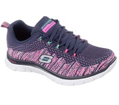 Add some sporty interest to your look with the SKECHERS Flex Appeal - Talent Flair shoe.  Unique flat knit fabric upper in a lace up athletic sporty training sneaker with Memory Foam insole.