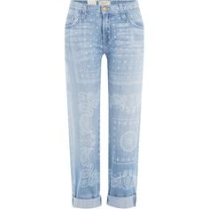 Current/Elliott Printed Cropped Jeans ($220) ❤ liked on Polyvore featuring jeans, bottoms, pants, blue, button-fly jeans, zipper denim jeans, zip jeans, cropped jeans and print denim jeans