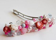 DIY Barrette - HUM hebilla jewelry crafts, crafti stuff, diy barrett, bow, bead barett, hair barrettes diy, jewelri, craft ideas, bead barrett