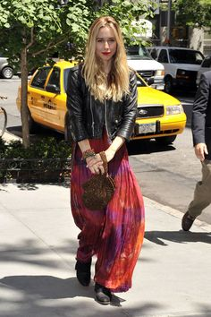 LOVE leather jackets and long skirts/ dresses && p.s. LOVE Gillian Zinser
