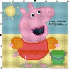 Schema punto croce peppa pig a mare Jumper Knitting Pattern, Knitting Patterns Free, Free Pattern, Crochet Patterns, Peppa Pig Family, Pixel Art Templates, Bordados E Cia, C2c, Strip