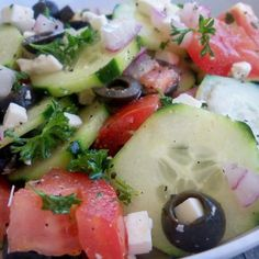 Greek Cucumber - Tomato and Onion Salad Recipe
