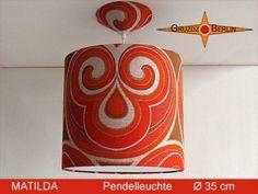 Pendelampe MATILDA, Ø 35 cm, mit Diffusor und Baldachin. MATILDA ist auch eine wunderschöne Hängleuchte aus einem Retrostoff aus den Ende der 60er und 70er Jahre -> Pantonstil.