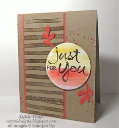 handmade card from Cattail Designs: Stampin Up, Global Design Project #008 .. kraft ... watercolor stamps ... bits of grunge ... luv the orangey red leaves and lines ... Stampin' Up!