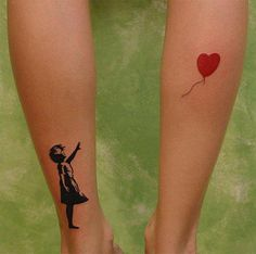 Little kid and flying red balloon tattoo on leg