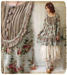 Mori girl look Shabby Chic Outfits, Vintage Outfits, Bohemian Mode, Bohemian Style, Boho Chic, Mori Mode, Robes Vintage, Mori Girl Fashion, Look Boho