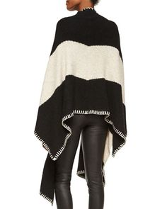 T9ZU4 Alice + Olivia Kamala Chevron Open-Front Cape, Black/Cream