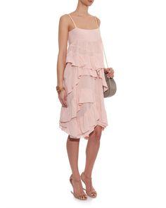 chloe cotton dress | Chloé | Pink Ruffled Cotton-gauze Dress | Lyst