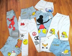 Shorts jeans painting handpainted jeans handmade DIY