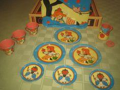 "Tin Ohio Art Tea Set ""Boy Apple"" Circa 1940's 12 PC Set   eBay"