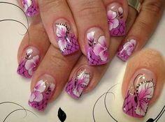 Purple flowers & butterflies Nails