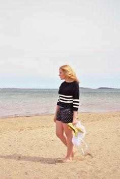 Life's a Beach | thoughtfulwish // kate spade // yellow heels // navy outfit // beach // beachwear // ocean // beach girl