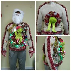 Lemon Grass Vintage Ugly Christmas Sweater with classy buttons with hand sewn beads into a Christmas Tree  classy design with furry collar