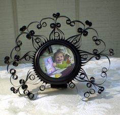 Quilled Black Stand Up  Aluminum Can Photo Frame. $10.00, via Etsy.