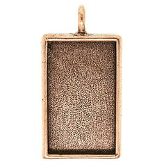 A FusionBeads.com Product I Love. 41x21mm Antique Copper Plated Pewter Large Rectangle Deep Bezel Pendant by Nunn Design