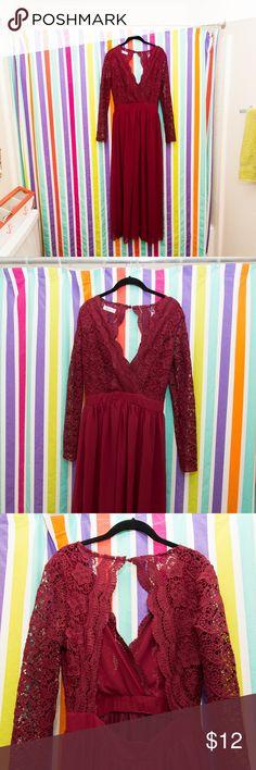 Deep V Neck Floral Lace Long Sleeve Maxi Dress Beautiful burgundy floral lace maxi dress! Never worn. Dresses Maxi