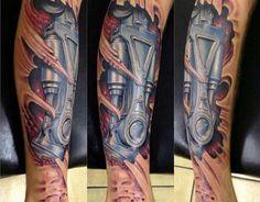 Biomechanical Tattoo Leg