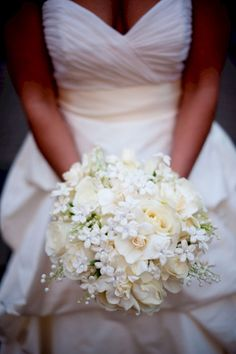 White bridal bouquets, ivory bridal bouquets, gardenias, stephanotis, lily of the valley bouquet =) White Wedding Bouquets, Bride Bouquets, Floral Wedding, Wedding Bride, Lilly Bouquet Wedding, Casual Wedding, Purple Bouquets, Cream Wedding, Flower Bouquets