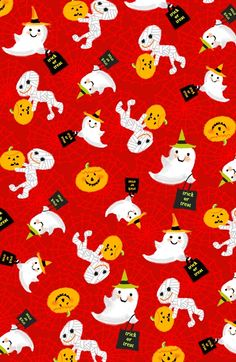 definitely cute and fun. Holiday Inspirations Halloween Fabric- Mummies & Ghosts Red, , hi-res