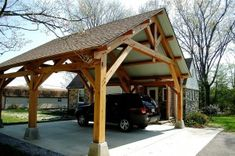 Porte Cochere Design Ideas, Pictures, Remodel and Decor - Carport garage Porte Cochere, Building A Porch, Building Plans, House With Porch, House Front, Gazebo, Pergola Canopy, Carport Designs, Carport Ideas