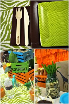 """Safari Birthday Party - love the glittered safari animals and cargo crates! AND hand-stamped wooden utensils with """"RAWR""""! Lots of great DIY decor ideas here."""
