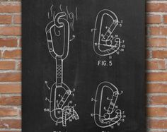 Climbing Patent Art Carabiner Carabiner by WunderKammerEditions