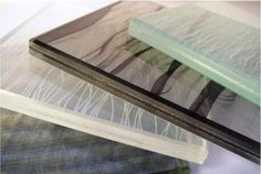 Laminated glass (textile insert)  Fabric laminating gives you the opportunity to encapsulate a rich selection of fabrics within protective glass layers. Using regular woven cloth, delicately constructed textiles or printed fabrics combines the beauty, colour & texture of the fabric with the structural strength & practicality of glass.