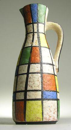 Jasba West German Pottery Modernist Mid 20 th Century Vintage Retro Kitsch Vase