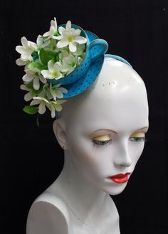 Jasmine tea cup fascinator blue polka dot teacup fascinator tea party hat mad hatter hat