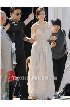 Fan Bingbing Column One shoulder Full Length Chiffon Evening Dress Formal Gown Cannes Film Festival - TheCelebrityDresses