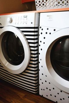 Washer & Dryer Makeover: Temporary, Fast & Just $8 A Beautiful Mess | Apartment Therapy. I'm definitely going to do this when I get an apartment.