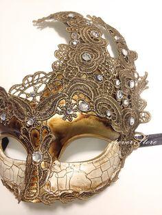 Venetian Goddess Golden Bronze Masquerade Mask Made by 4everstore, $32.95