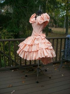 VINTAGE 80s PROM PARTY DRESS L XL PEACH WILD CHILD GEORGIA PEACH  I HAVE THIS ONE FOR SALE NOW THE WEEK OF 10/31/2014