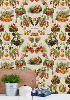 The Fruit Growers Guide Wallpaper from the Erstwhile Collection by Milton & King Damask Wallpaper, Colorful Wallpaper, Designer Wallpaper, Interior Wallpaper, Wallpaper Designs, Boutique Wallpaper, Kitchen Wallpaper, Fresh Fruits And Vegetables