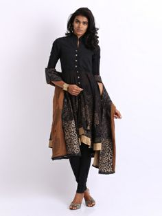 BIBA Women Black Embroidered Churidar Kurta with Dupatta