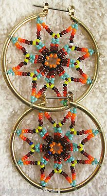 Native American Dreamcatcher Hoop Earrings Glass Beads Multi Color Gold Tone | eBay