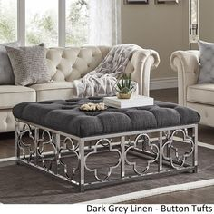 Solene Chrome Quatrefoil Base Square Ottoman Coffee Table by iNSPIRE Q Bold - On Sale - Overstock - 18594315 - Grey Linen - Button Tufts Square Ottoman Coffee Table, Ottoman Table, Furniture Deals, Tufting Buttons, Quatrefoil, Living Room Furniture, Living Spaces, Chrome, Inspire