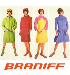BRANIFF International stewardess uniforms of the 60s and mid 70's.