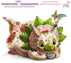 Daily Paint Teahistoric - Teaceratops by Cryptid-Creations on DeviantArt Cute Animal Drawings Kawaii, Kawaii Drawings, Cute Drawings, Cute Fantasy Creatures, Cute Creatures, Animal Puns, Animal Food, Creature Drawings, Cute Doodles