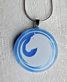 Horse Fused Glass Pendant Horse Jewelry by FireHorseArtJewelry