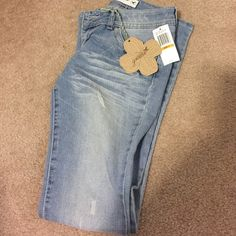 """Super Cute Distressed Jeans Slightly flared jeans/distressed  front and back. Approx. 30 1/2 inches to 31"""". Grane Jeans Boot Cut"""