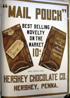 1906 Novelty: Hershey's Milk Chocolate Wafer Mail Pouch Chocolate Wafers, Hershey Chocolate, Chocolate Heaven, Hershey Candy, Hershey Kisses, Hershey Park, Chocolate Brands, Chocolate Shop, Diy Pouch Tutorial