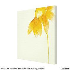 MODERN FLORAL YELLOW SUN ART CANVAS PRINT