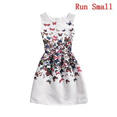 Girls 5 - 10 Years Flower Wedding Princess Party Dress (8T (Right Size), White) * Click on the image for additional details.