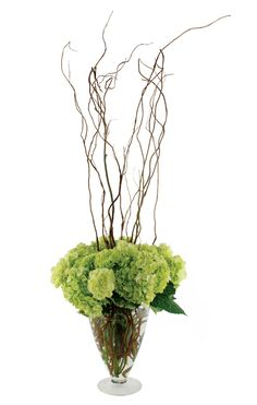 Chartreuse carnations and or green hydrangeas with willow branches for center pieces.